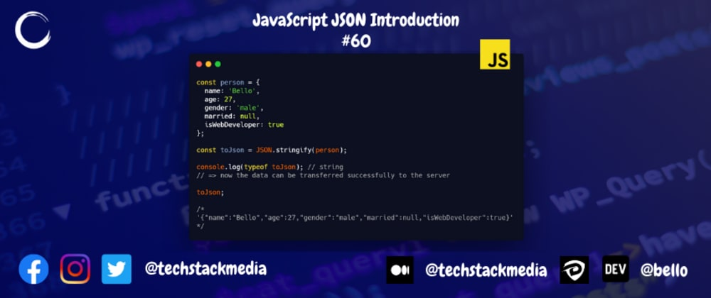 Cover image for JavaScript JSON Introduction
