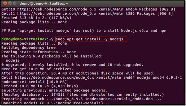 install nodejs using sudo and apt-get on Ubuntu