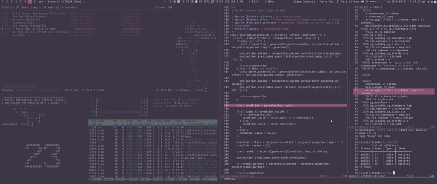 screenshot of several console programs running in a tiling window manager