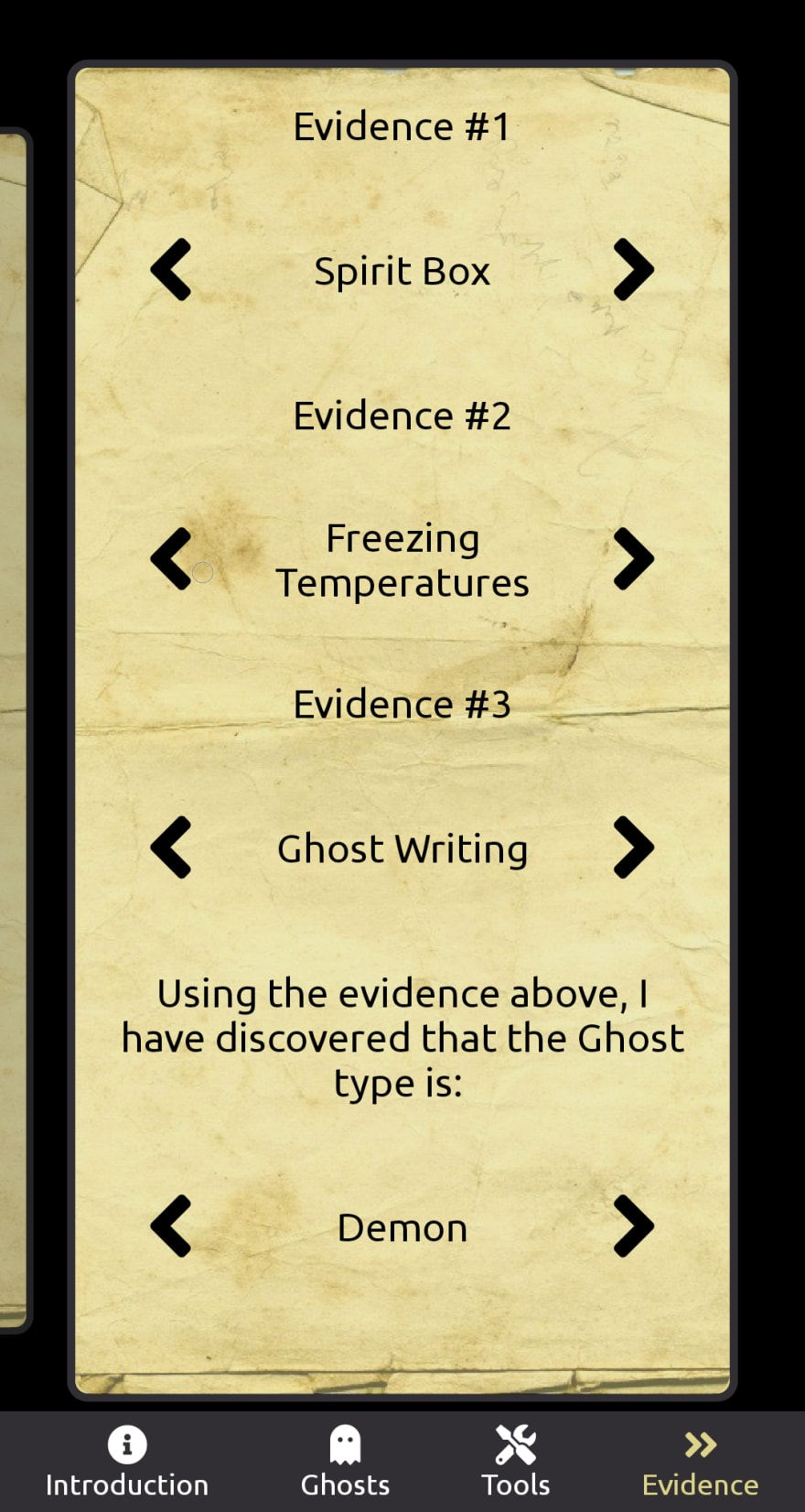 The Evidence Page