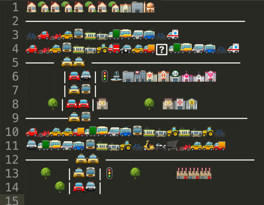 Sublime Text sketch of an emoji traffic jam