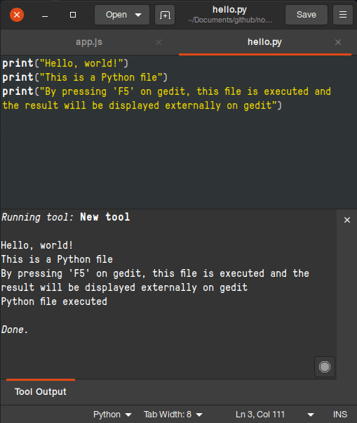 output python