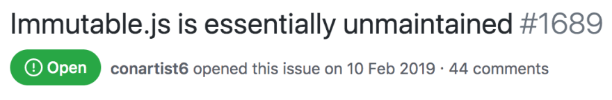 Immutable.js is essentially unmaintained