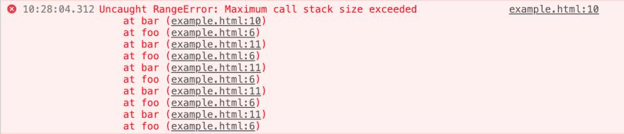 RangeError: maximum call stack exceeded
