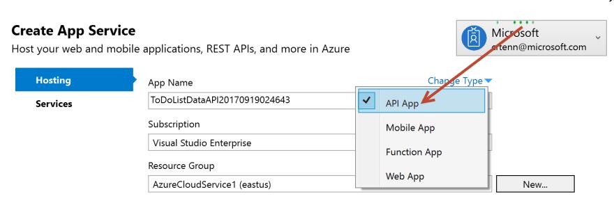 API selected