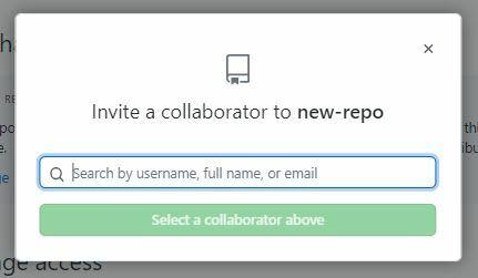 Modal que abre quando clicamos em Invite a Collaborator