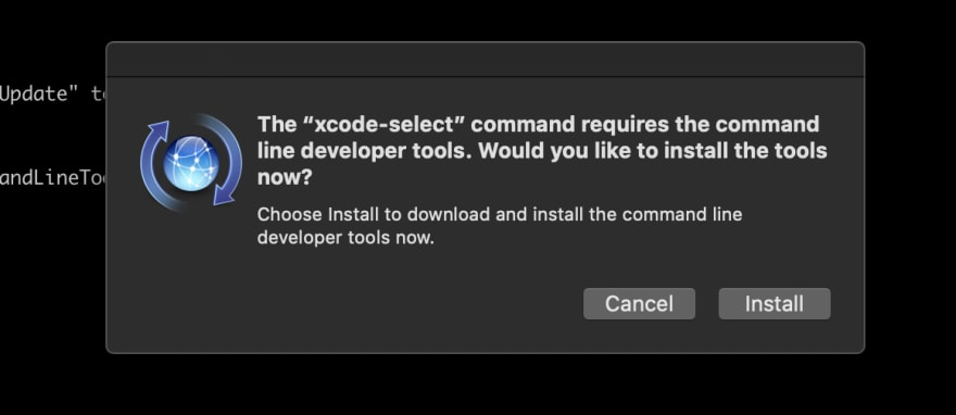 Prompt after running xcode-select -instal