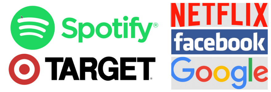 Image of company logos using sans-serif fonts such as Spotify, Target, Netflix, Facebook, and Google