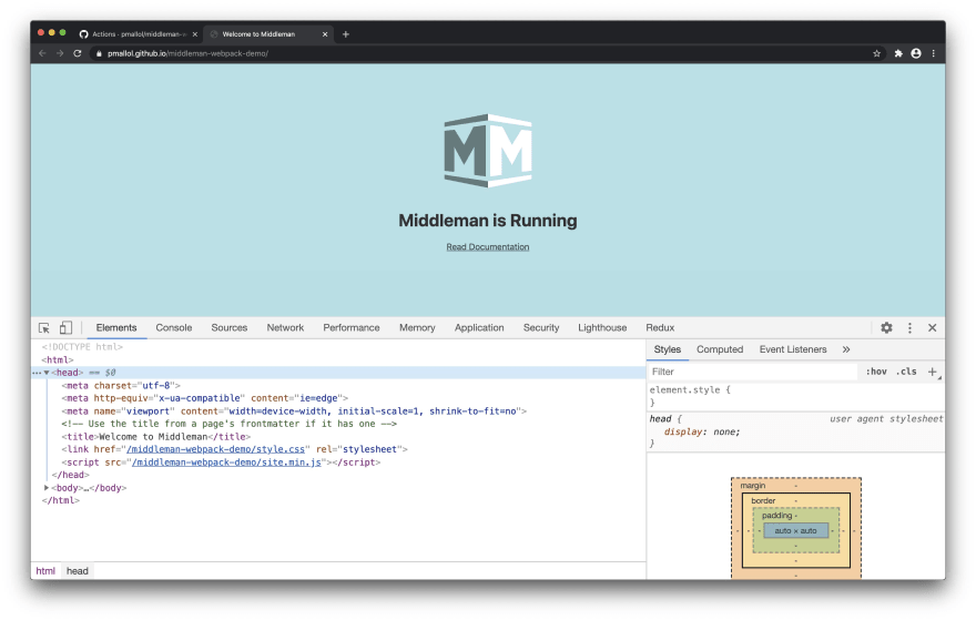 Screenshot of Middleman app in GitHub Pages with dev tools open inspecting the head tag of the HTML