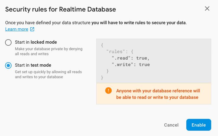 Start database in test mode
