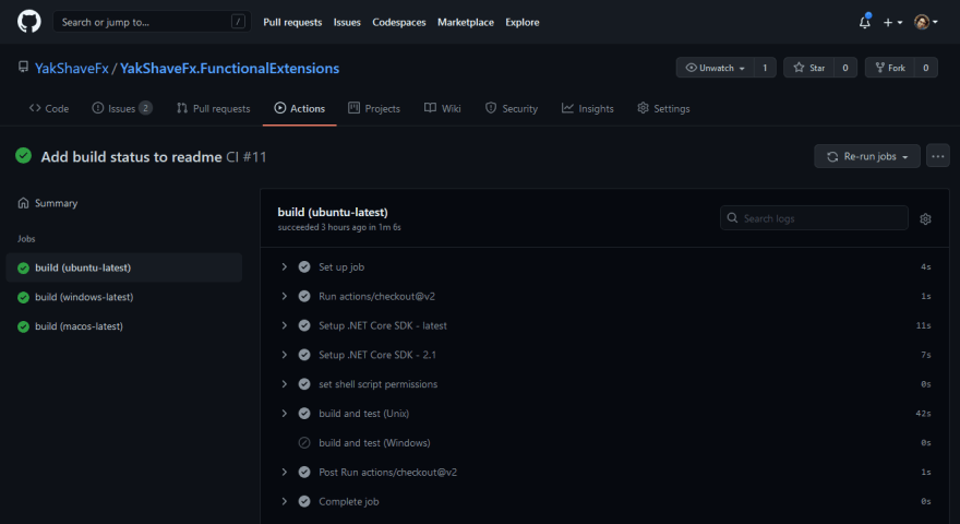 GitHub Actions workflow job details