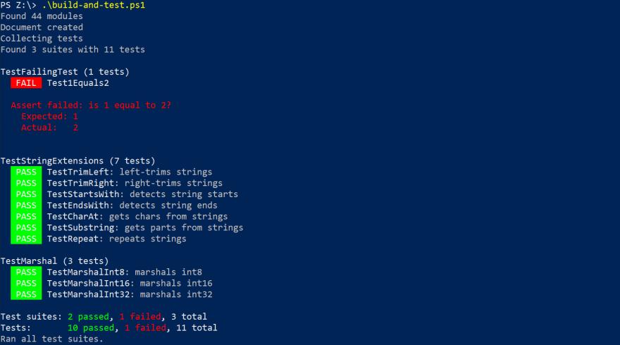Screenshot of failed test case error message