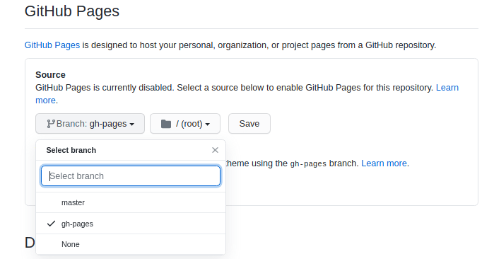 select branch github pages