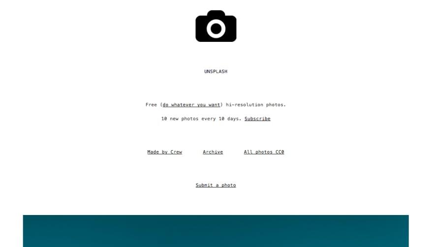 Unsplash's website on $19 Tumblr theme
