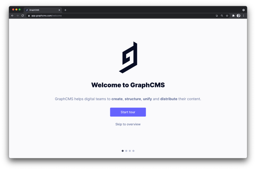 GraphCMS Welcome page