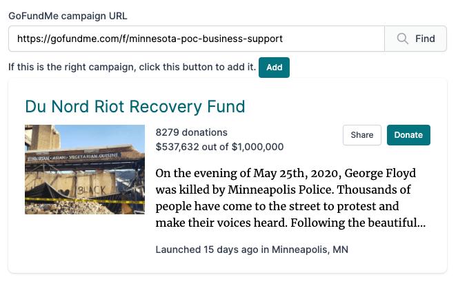 Fund The Rebuild Add Screen