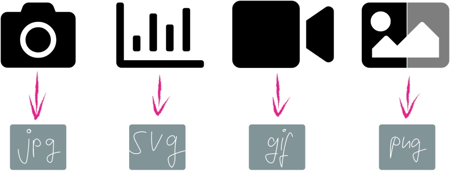 Photos go as jpeg, charts as SVG, animations as gif and transparent images as png