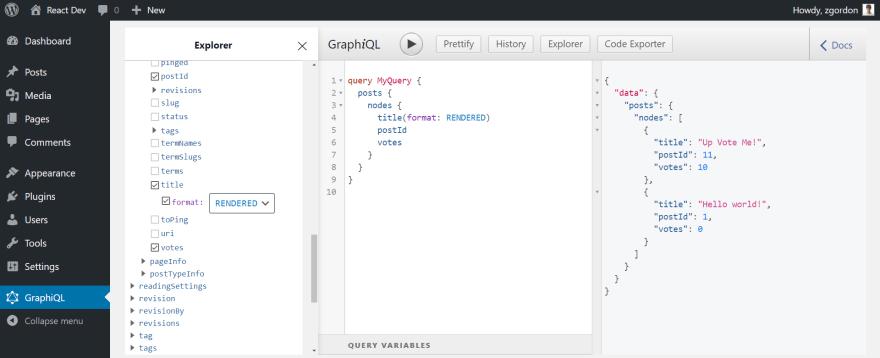 Screenshot of WPGraphiQL showing the votes custom meta field