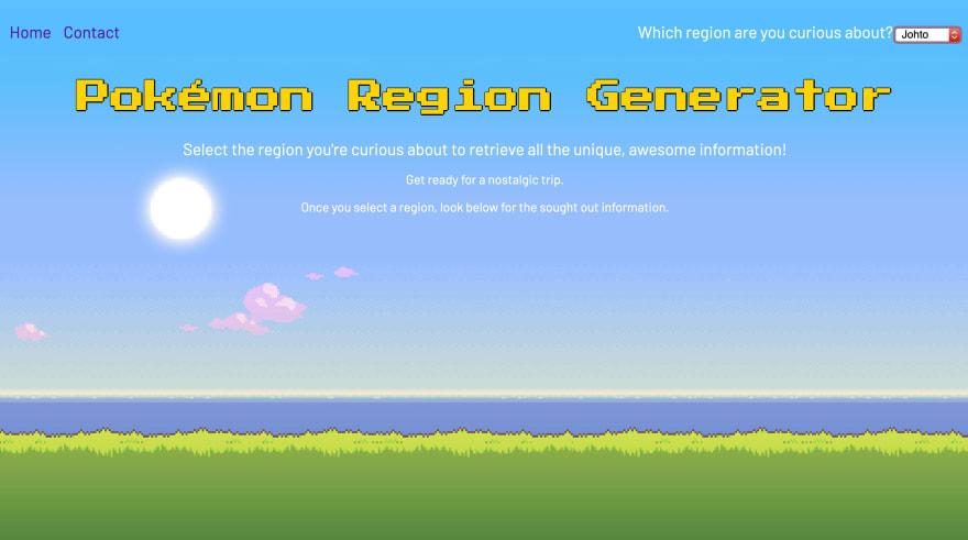 Screenshot of my Pokémon Region Generator website