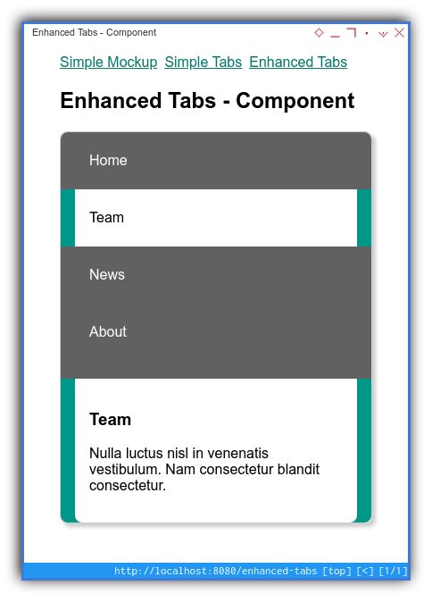 Tabs Component: Mobile