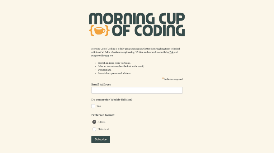 Morning Cup Of Coding Screenshot