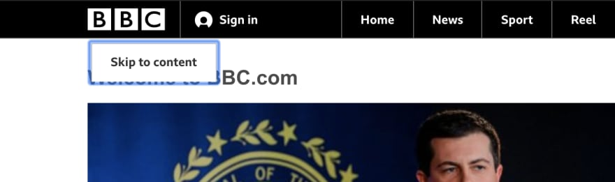 BBC website screenshot image that shows skip to main content implementation