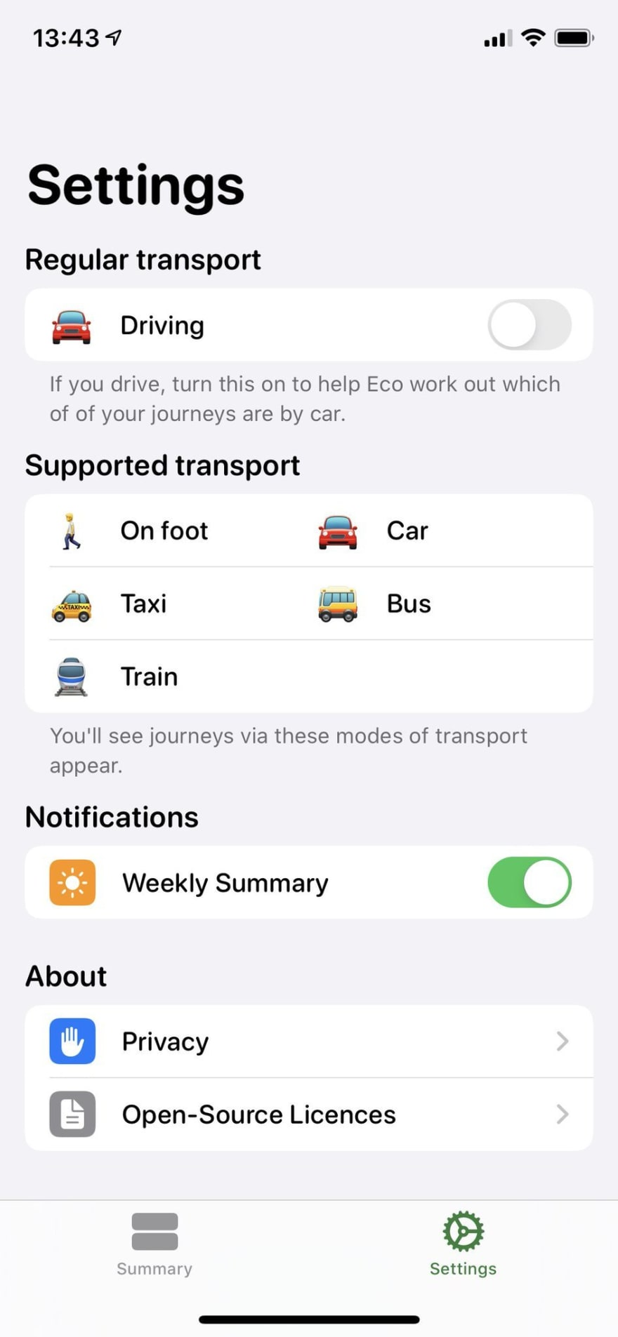 Settings screen of the iOS app