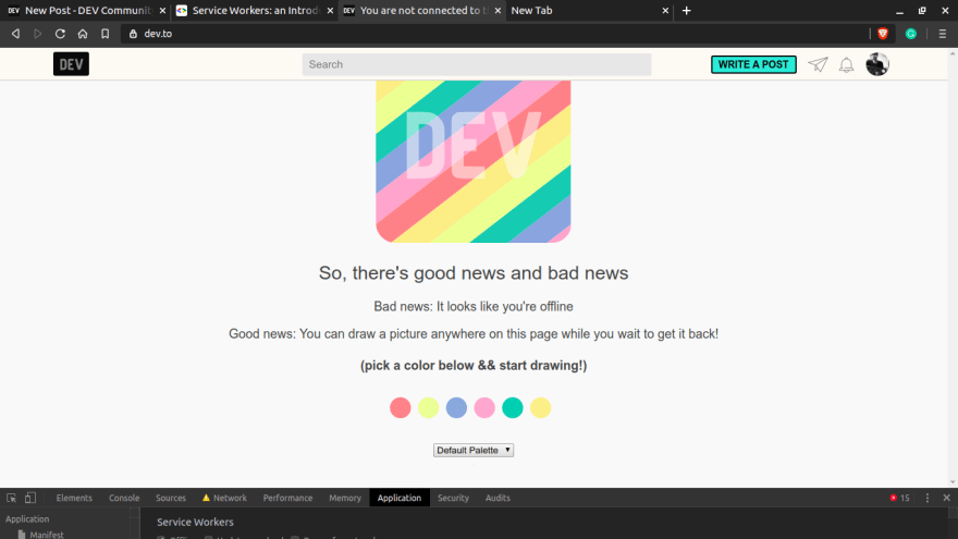 Image of DEV.to's offline page