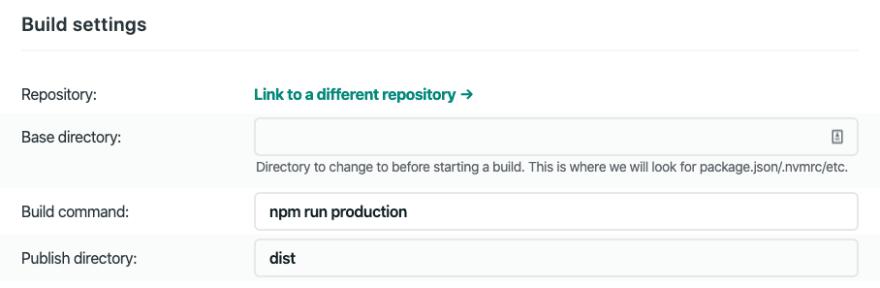 Screenshot of Netlify build settings