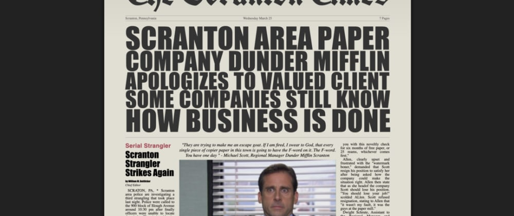 Cover image for Michael Scott Quoted in the Scranton Times with CSS Grid