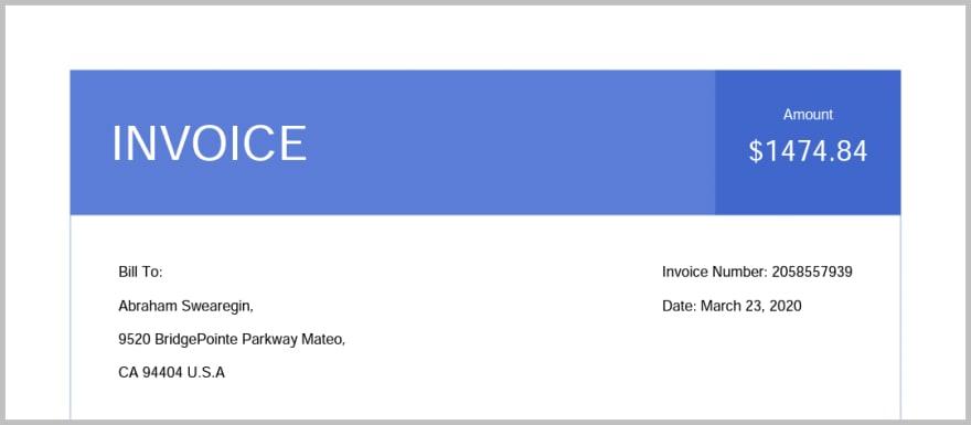 Invoice header in PDF file