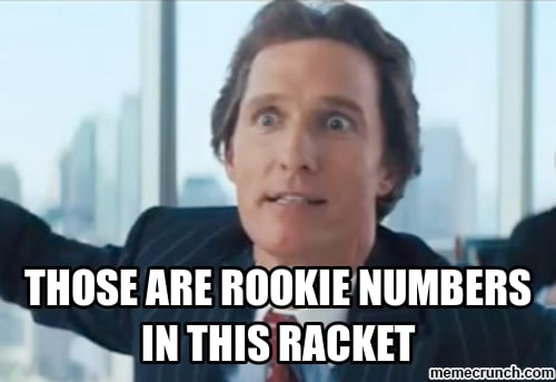 Those are rookie numbers