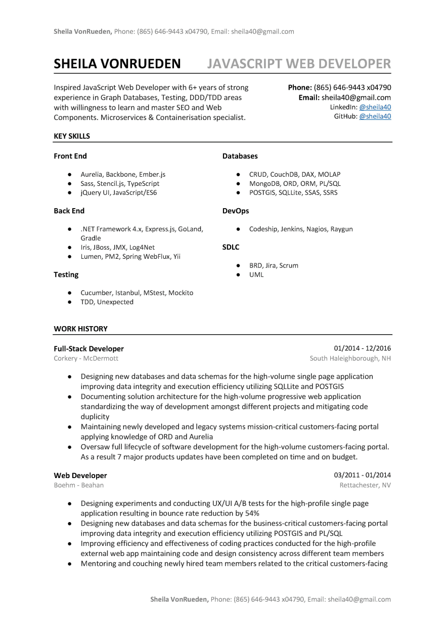 Javascript Developer Resume Sample Template A B Tested