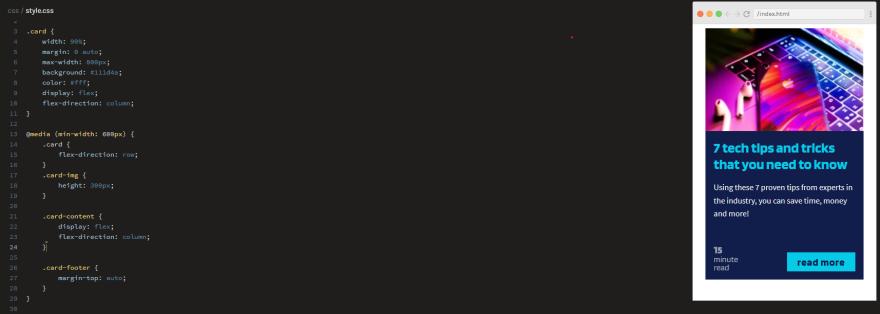 Scrimba interactive Flexbox card