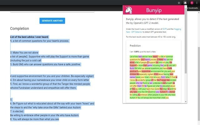 Bunyip extension in action