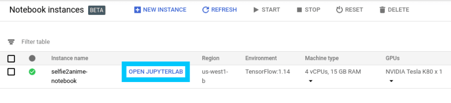 Google AI Platform Notebook Open Jupyter Lab