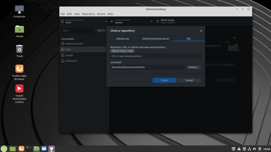 Github Desktop clone repository
