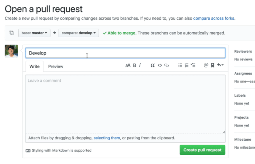 Open a pull request page