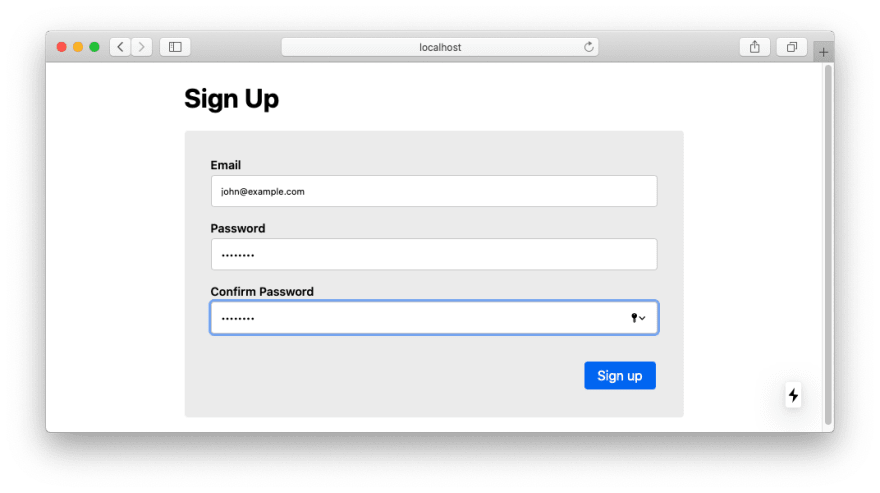 Create a user on the Signup page