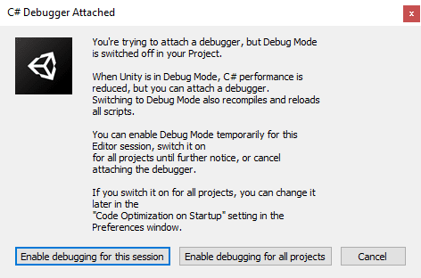 Enable debugging dialogue in Unity 2020 and up