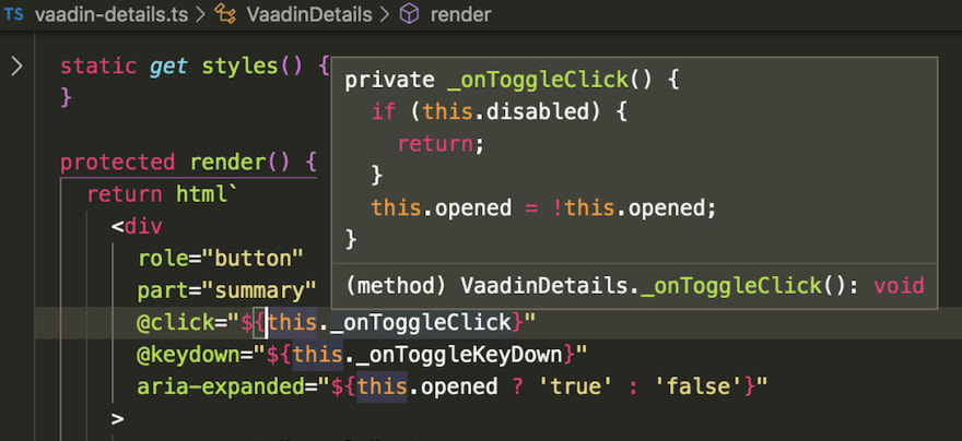 Code completion with LitElement and TypeScript