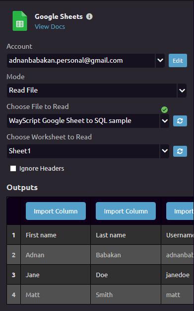 Google sheet module settings