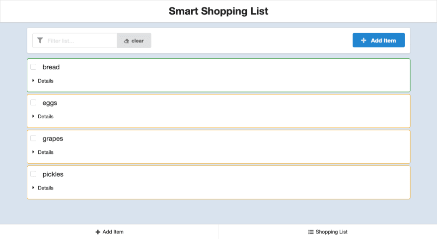 screenshot of smart shopping list app