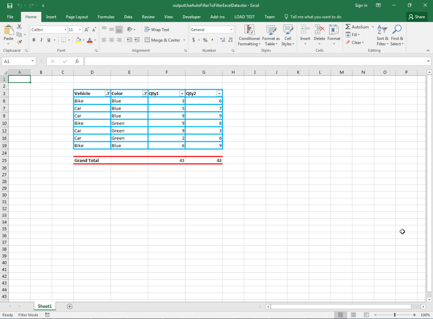 Output Microsoft Excel Document by Aspose.Cells API after applying AutoFilter.