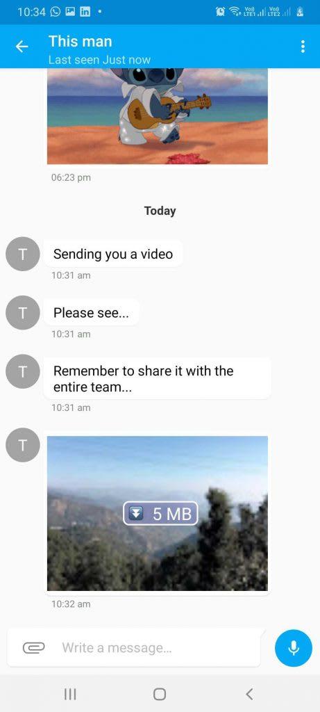 Individual chat screen