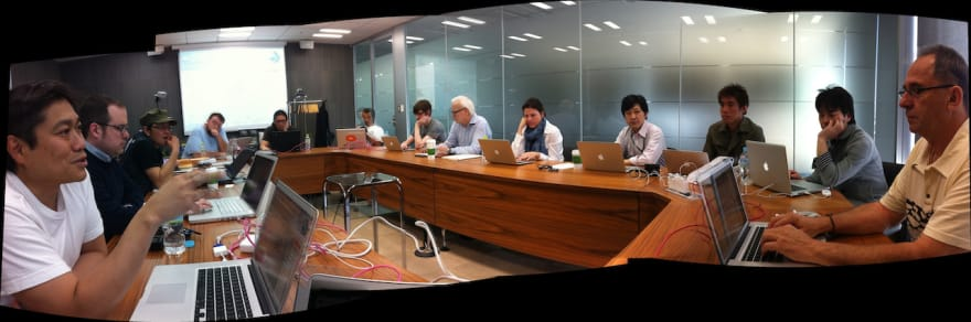 Participants of the first Safecast meeting, sitting around a table