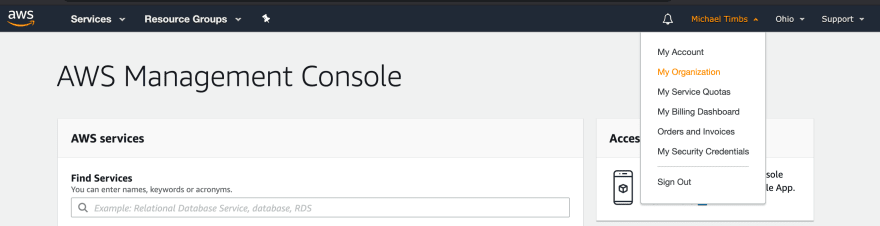 AWS console — Navigate to My Organisation