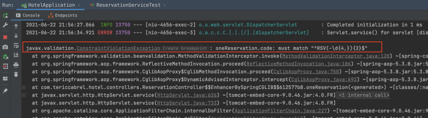 Constraint validation exception