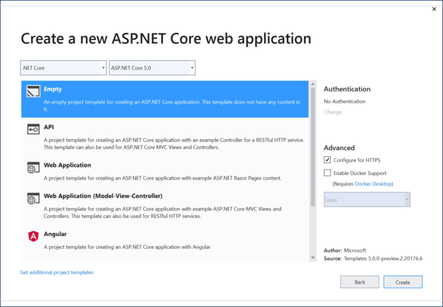 List of ASP .NET Core 5.0 projects