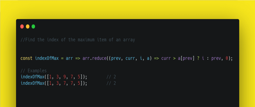 Cover image for Find the index of the maximum item of an array